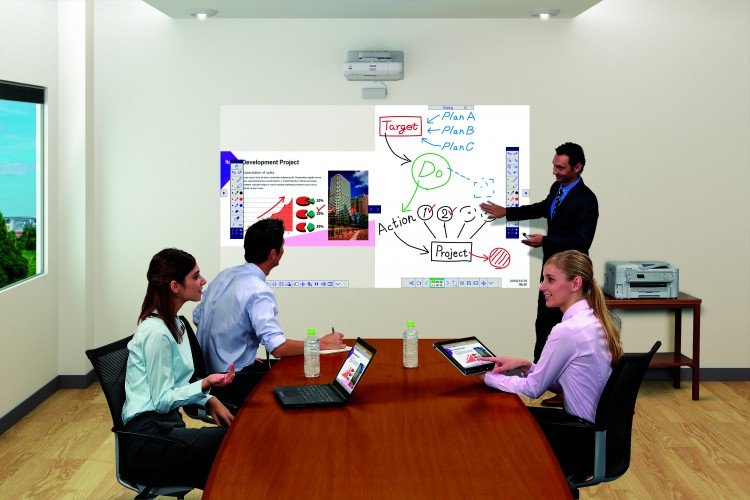 Epson challenges flat panel displays with new all-in-one meeting solution boasting up to 100-inch images