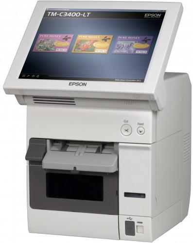 Epson TM-C3400-LT med integreret touch-skærm printer brugerdefinerede labels, billetter og armbånd på stedet
