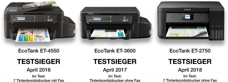 EcoTank: Dreimal in Folge Testsieger bei der Stiftung Warentest