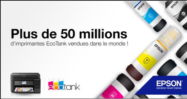 Epson a livré 50 millions d'imprimantes jet d'encre sans cartouche, à réservoirs haute capacité