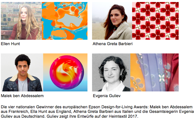Epson Design-for-Living Award auf der Heimtextil 2017