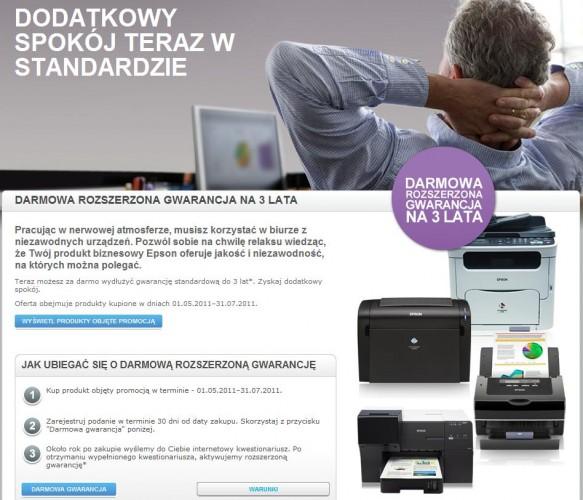 Epson: 3 letnia gwarancja na wybrane urządzenia biznesowe
