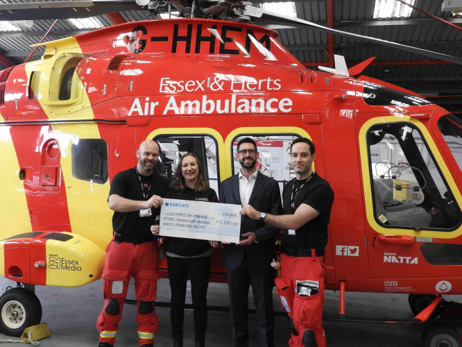Epson donates nearly £16k to charity partner Essex & Herts Air Ambulance