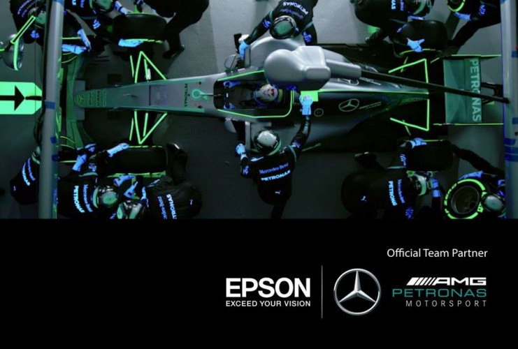 Epson and Mercedes-AMG Petronas Motorsport Create the World's First Glow-in-the-Dark Pit Stop