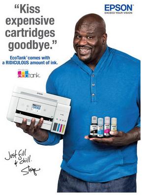 Epson і зірка NBA Шакіл О'Ніл об'єднують зусилля для просування безкартриджних принтерів