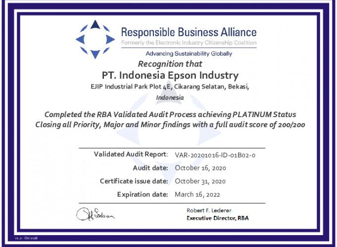 Une usine Epson obtient le statut Platinum de la RBA pour une fabrication socialement responsable