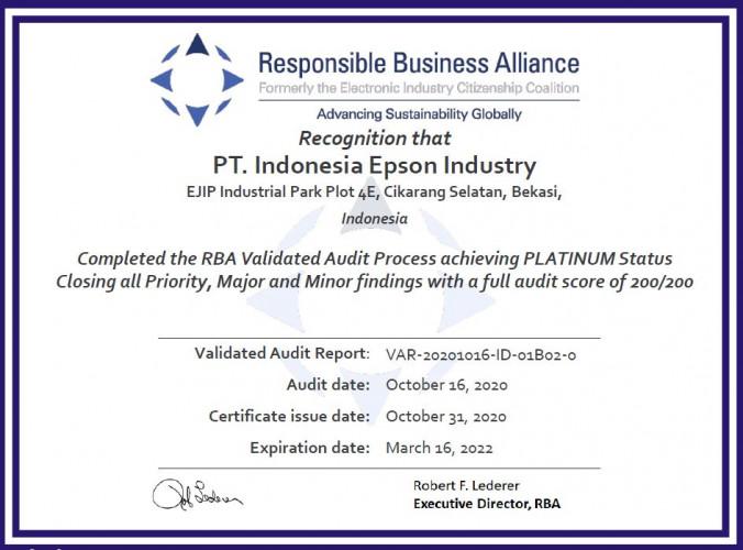 Platin-Zertifizierung der Responsible Business Alliance für Epson Werk