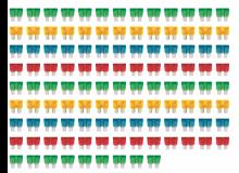 Een bestelde verzameling mechanische zekeringen, gegroepeerd op kleur