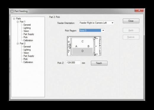 Een schermafbeelding van het configuratiescherm van het onderdeelinvoersysteem