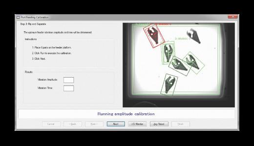 Een schermafbeelding van het kalibratiescherm van het onderdeelinvoersysteem