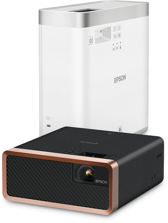 An Epson EF-100B projector and an upright Epson EF-100W projector