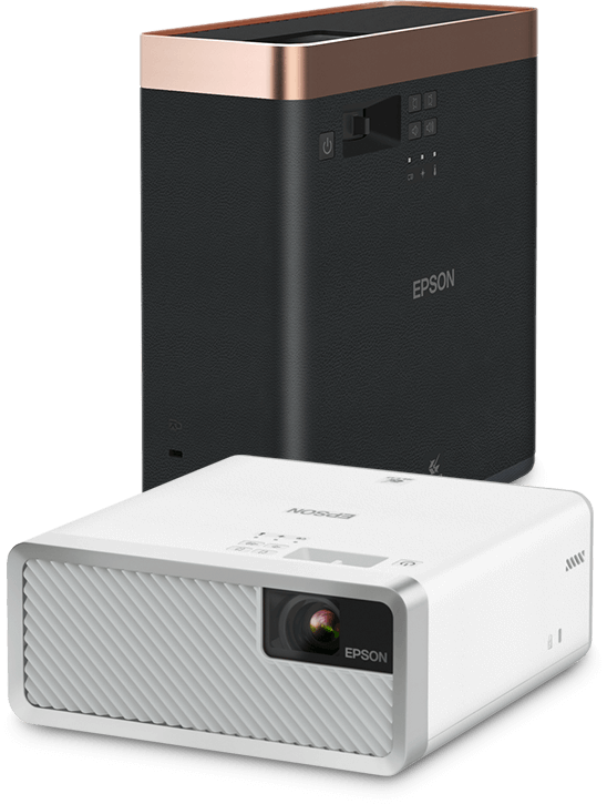 An Epson EF-100W projector and an upright Epson EF-100B projector