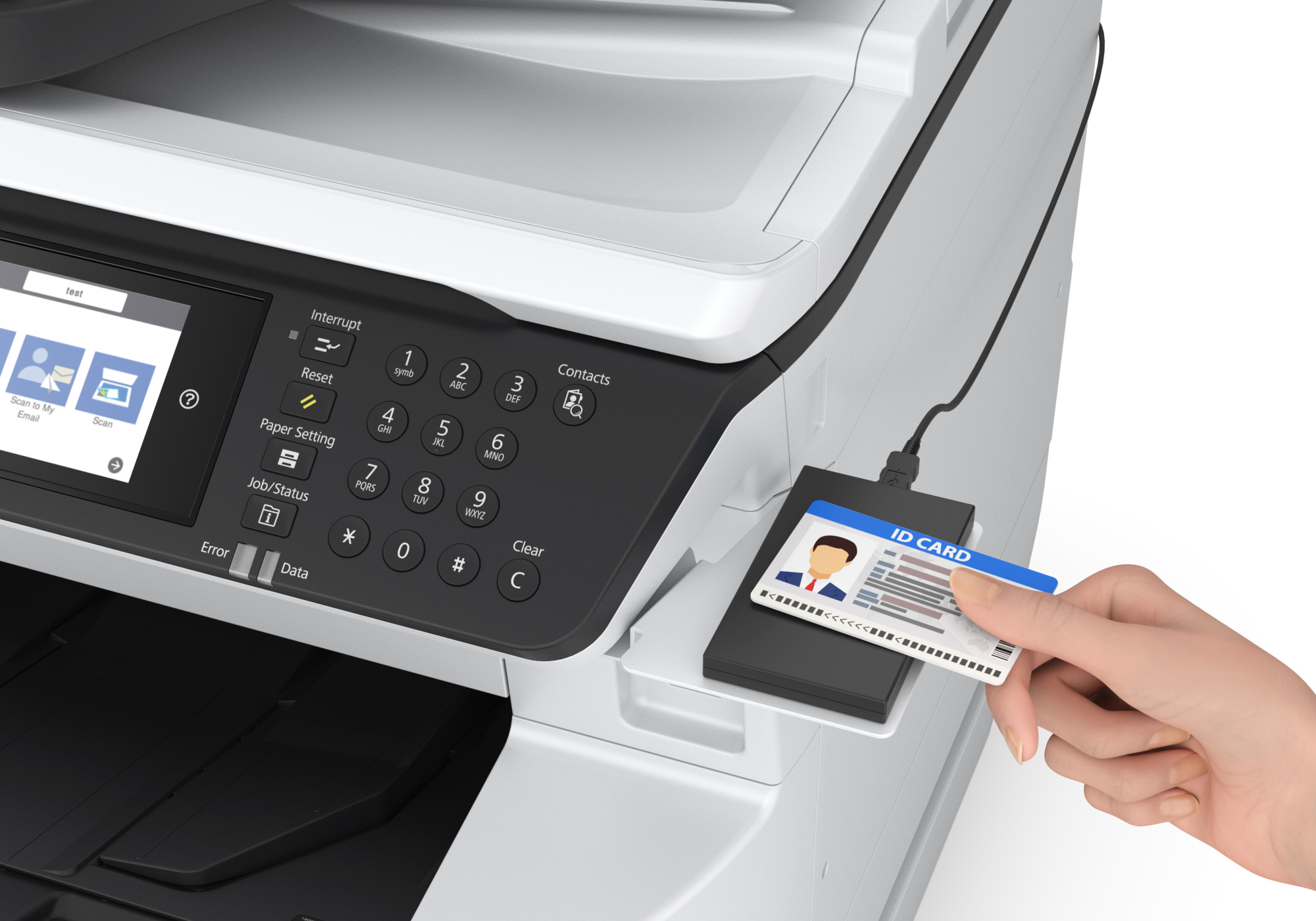 Person using id card to print