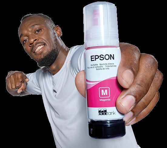 Usain Bolt holding a magenta EcoTank bottle in his Lightning Bolt pose